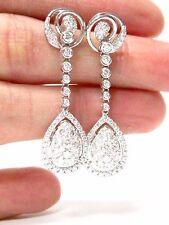1.60 TCW Round Diamonds Pear Shape Drop/Dangling Earrings G SI1 18k White Gold