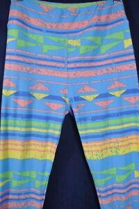 LuLaroe Geometric striped Leggings Stretch Pants Light Blue Pink Yellow One Size
