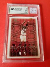 MICHAEL JORDAN GAME USED JERSEY PIECE & MJ EXCLUSIVES CARD GRADED BCCG 10 MINT+