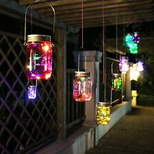 Outdoor Solar Mason Jar 10-LED Fairy Light Hanging Lantern Colorful Patio Deck