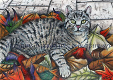 Aceo Original Art Animal Cat Tabby Autumn Fall Leaf Realism Drawing - SmcNeill