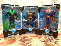 "McFarlane DC Multiverse Animated Batman Superman Green Lantern 7"" set of 3"