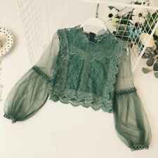 Lady Puff Sleeve Lace Shirt Transparent Sheer Floral Top Retro Splice Blouse New