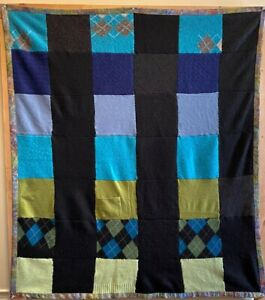 Unique Hand-Made Soft & Comfy Baby / Lap Quilt, Warm Colorful Up-Cycled Cashmere