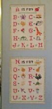 Country Alphabet Sampler Finished Completed Cross Stitch on Linen