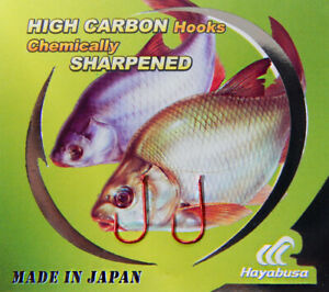 Hayabusa Chika Red Carp Fishing Spade Hooks Sizes 8,9,10. 10 Hooks Per Pack New