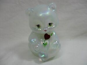 "Iridescent Fenton Bear 3.5"" White Hand Painted B. Williams Signed- 2005-cc"