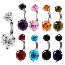 9pcs/lot Steel Belly Button Rings Crystal Curved Navel Barbell 14 Gauge Piercing