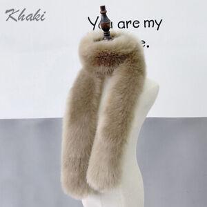 Women's Faux Fox Fur Scarf Long Soft Collar Shawl Wrap Stole Fluffy Furry Winter