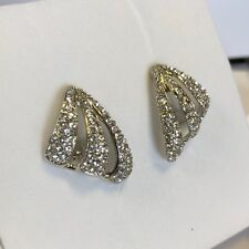 Cristalina Mirror Plated Genuine 1990s Deco Fan Clip On Earrings Crystals NEW