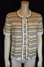 St John Sport Logo Yellow/Wh/Gray Textured stripe S/S Cardigan +shell Twin Set S