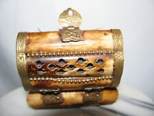 ( #1)  ANTIQUE TIBETAN HAND CARVING  BUFFALO BONE  TRINKET + BRASS  HANDLE  HING