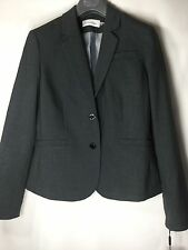 NEW CALVIN  KLEIN Women's  Suit Blazer Charcoal Gray Size 10 Two Button Dressy