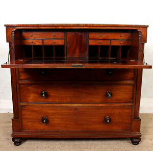 Antique Georgian Secretaire Writing Desk Chest of Drawers Mahogany Bureau