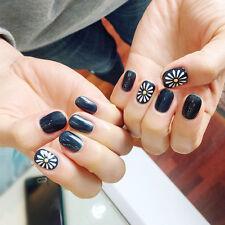 24pcs Fashion Daisy Fingernail tip Short False Nail Acrylic Full Cover Nail Art
