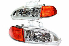 92-95 Honda Civic JDM Chrome Head lights w/City Light + 2/3 EG EJ Amber Corners