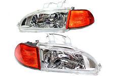 92-95 Honda Civic JDM Chrome Head lights w/City Light + 2/3 EG EJ Amber Corners