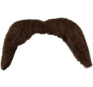 70s 1970's 70's Fancy Dress Tash Stick on Moustache Brown New W