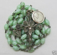 """† ANTIQUE """"BLESSED"""" SAINT POPE XXIII VATICAN STERLING 800 GREEN ROSARY & MEDAL†"""