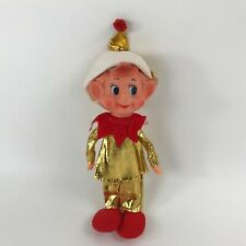 Vintage DAI Christmas Elf Pixie Metallic Gold Outfit Rubber Face Made in Japan