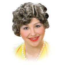 Señoras Gris Viejo Dama Peluca niñera de Halloween vestido elegante mujer OL Disfraz Utilería