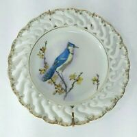 Vintage Hand Painted Porcelain Blue Bird Plate Reticulated Gold Edge Hanger