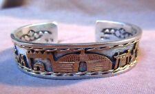 Native Navajo Sterling Silver & Gold Story Teller Cuff Bracelet by NN JB0068