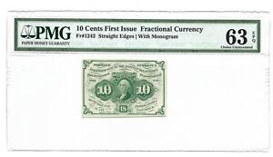 10 CENTS FRACTIONAL CURRENCY FIRST ISSUE PMG CHOICE UNCIRCULATED 63 EPQ, FR-1242