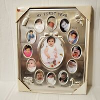 Silver Tone My First Year Baby Picture Frame New cute baby frame