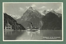 1937 RP SWITZERLAND POSTCARD - TELLSKAPELLE, VIERWALDSTÄTTERSEE - PADDLE STEAMER