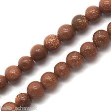 HS 2Strang Kaffeebraun Goldsand Stein Rund Perlen Beads 4mm