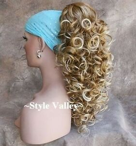 Curly Blonde Mix Claw CLIP in/ on Long Ponytail Extension Hair Piece NWT NEW