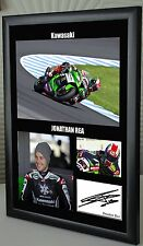"Jonathan Rea Kawasaki Motor Cycle Framed Canvas Print Signed ""Great Gift"""