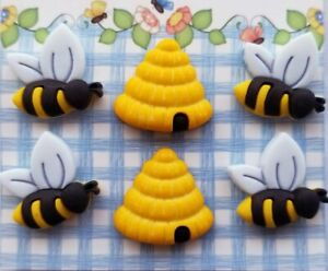 BUSY BEES 3D Buttons Galore Spring Fling Bee Hive Beehive Bumble Honey Insects