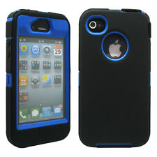 New Black & Blue Three Layer Silicone PC Case Cover for iPhone 4 4G 4S