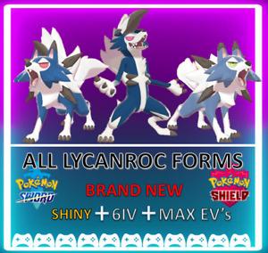 Pokemon Sword & Shield Shiny 6IV ALL LYCANROC FORMS MAX EV 6IV! BRAND NEW!