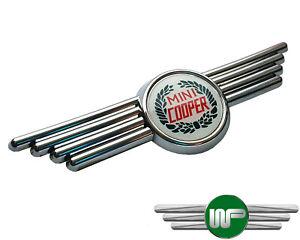 Classic Mini Winged Chrome Badge With Cooper Laurel Wreath Logo DAH10036