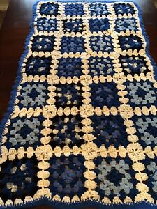 Hand-crocheted granny square afghan 52 X 29 Throw Baby Blanket Blue White
