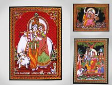 10 PC LOT Cotton Radha Krishna Indian Wall Hanging Tapestry Poster Black Throw