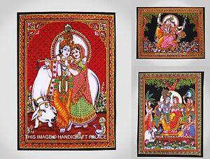 10 PC LOT Tapestry Poster Throw Boho Cotton Radha Krishna Indian Wall Hanging