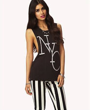 Forever 21 F21 Open Back NYC Muscle Tee Medium