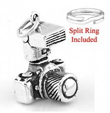 "SILVER "" SLR PHOTOGRAPHER'S CAMERA"" CHARM W/SPLIT RING"