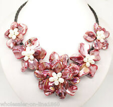 """AAA+ Red Freshwater Pearl Sea Shell Flower Leather Necklace 18"""""""