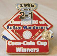 LIVERPOOL v BOLTON Victory Pins 1995 COCA COLA CUP FINAL Badge Danbury Mint