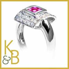 18ct White Gold Ring 4 Square Rubies & 26 Round Diamonds SIZE L 94382 SALE!!!