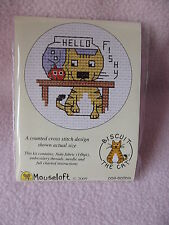 MOUSELOFT STITCHLETS CROSS STITCH KIT ~ BISCUIT THE CAT ~ HELLO FISHY ~ NEW