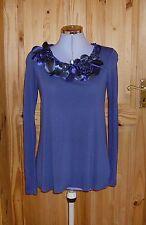 NEXT dark blue satin applique floral long sleeve tunic t-shirt top 8-10 36-38