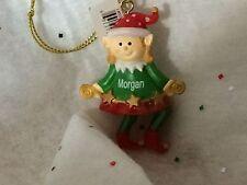 GANZ ELF Personalized Ornament MORGAN Stocking Stuffer Gift Tag Secret Santa NEW