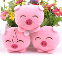 Mini Plush Pig Doll Pendant Key Ring Animal Charms PomPom Keyrings Handbag De.QA