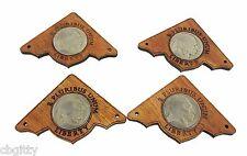 "4pc. ""Indian Head Nickel"" hardwood Mahogany Corners with real U. S. Coins!"